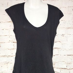 Lululemon Black STriped v-Neck Cap Sleeve Shirt-10